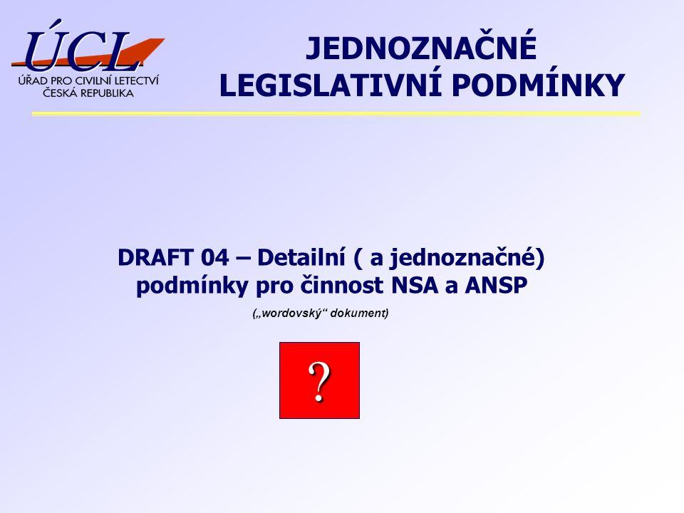 """DRAFT 04 – Detailní ( a jednoznačné) podmínky pro činnost NSA a ANSP JEDNOZNAČNÉ LEGISLATIVNÍ PODMÍNKY ? (""""wordovský"""" dokument)"""