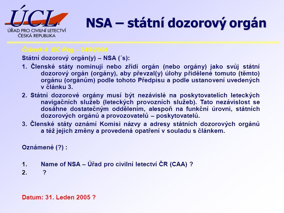 Článek 4 EC Reg – 549/2004 Státní dozorový orgán(y) – NSA (´s): 1. Členské státy nominují nebo zřídí orgán (nebo orgány) jako svůj státní dozorový org