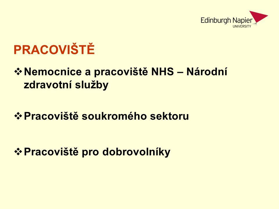 PRACOVIŠTĚ  Nemocnice a pracoviště NHS – Národní zdravotní služby  Community Settings  Pracoviště soukromého sektoru  Pracoviště pro dobrovolníky