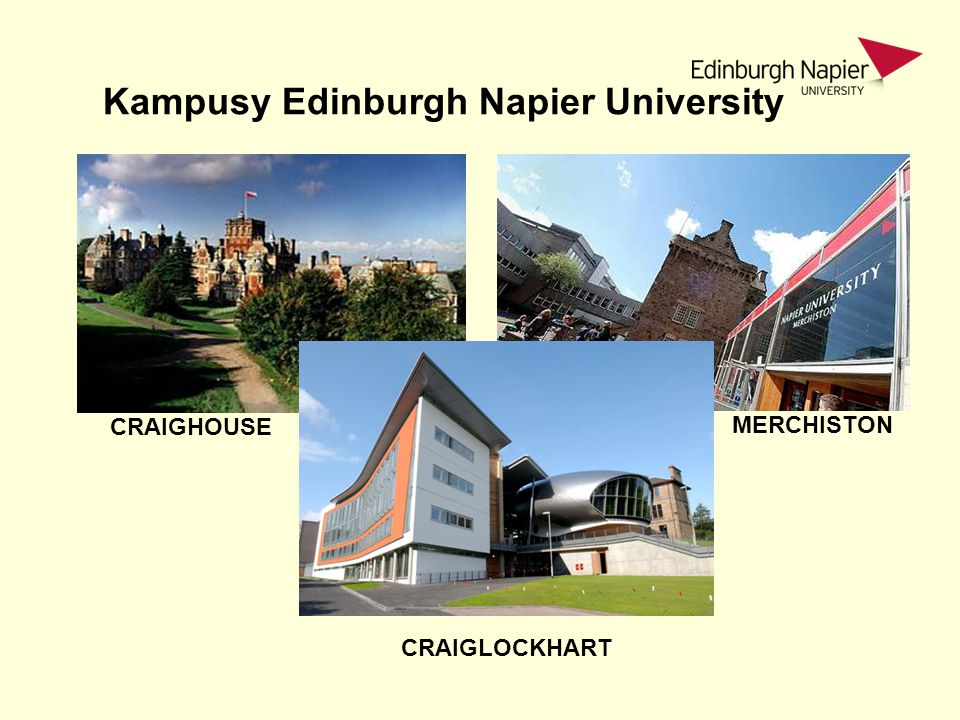Kampusy Edinburgh Napier University CRAIGHOUSE MERCHISTON CRAIGLOCKHART