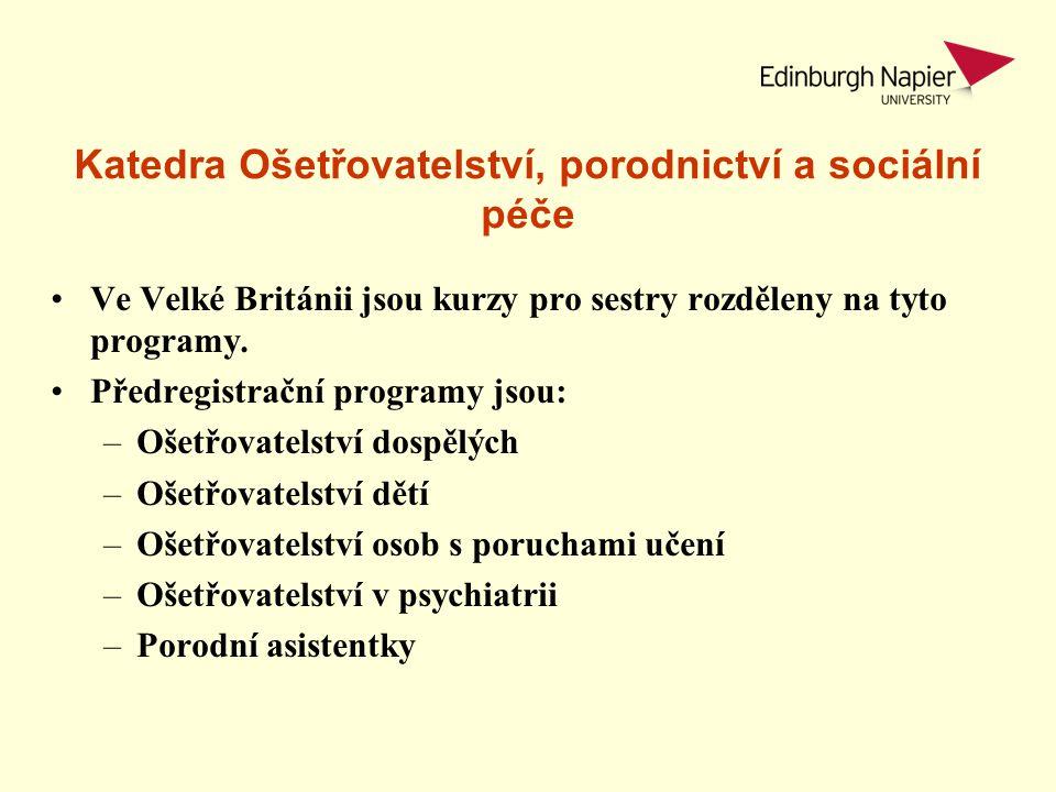 Katedra Ošetřovatelství, porodnictví a sociální péče Ve Velké Británii jsou kurzy pro sestry rozděleny na tyto programy. Předregistrační programy jsou