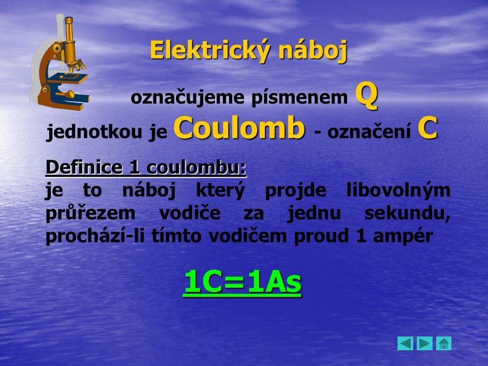 Q označujeme písmenem Q Coulomb C jednotkou je Coulomb - označení C Definice 1 coulombu: je to náboj který projde libovolným průřezem vodiče za jednu