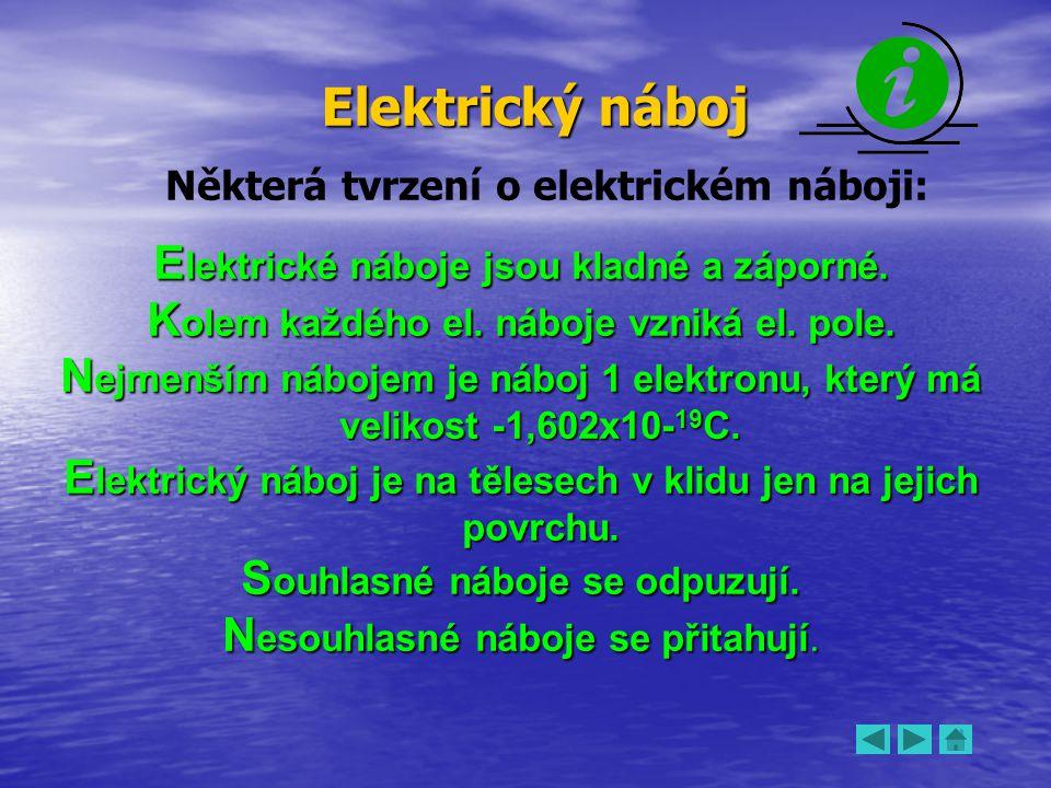 Elektrický náboj Některá tvrzení o elektrickém náboji: E lektrické náboje jsou kladné a záporné. K olem každého el. náboje vzniká el. pole. N ejmenším