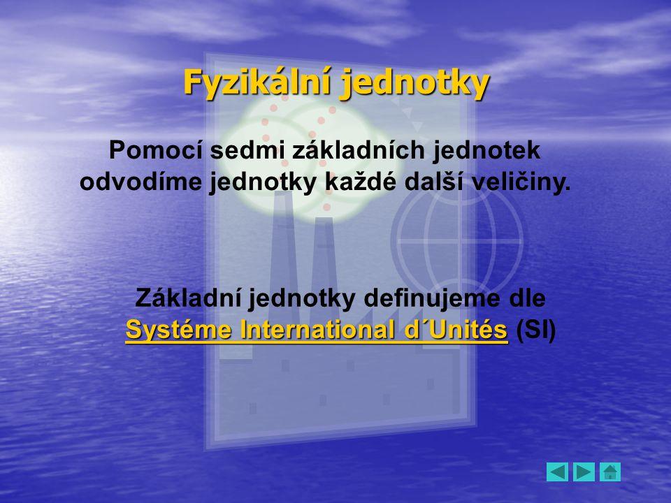 Fyzikální jednotky Pomocí sedmi základních jednotek odvodíme jednotky každé další veličiny. Systéme International d´Unités Základní jednotky definujem
