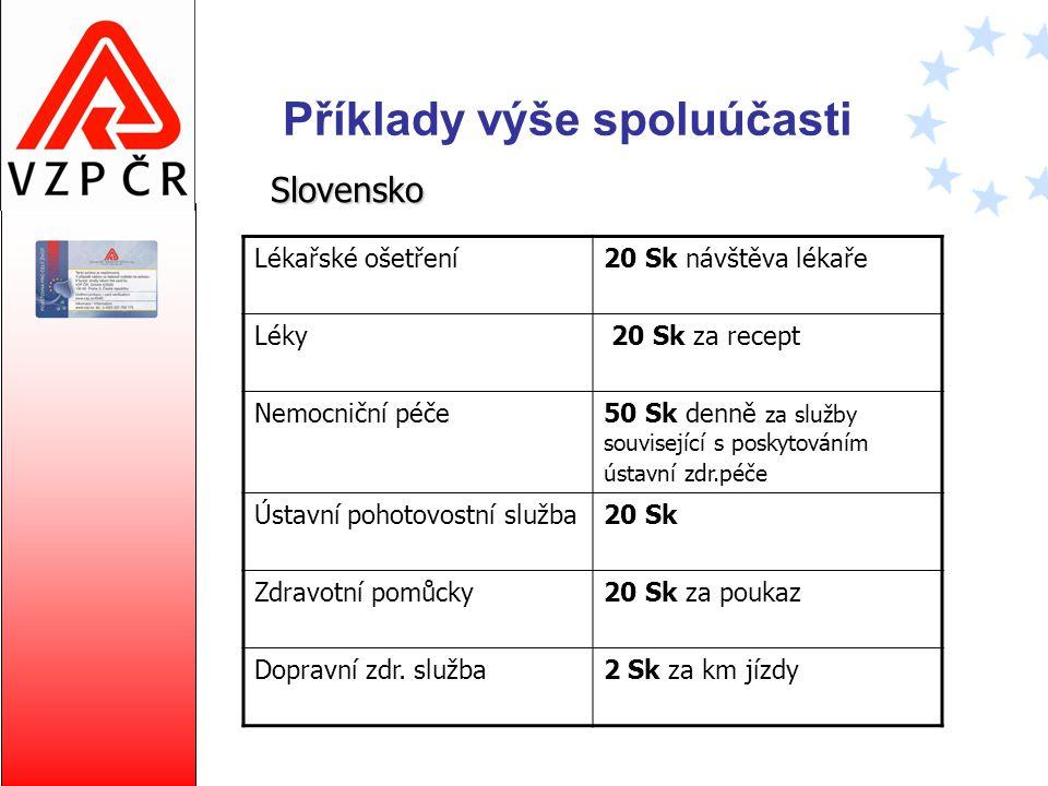Příklady výše spoluúčasti Slovensko Lékařské ošetření20 Sk návštěva lékaře Léky 20 Sk za recept Nemocniční péče50 Sk denně za služby související s pos