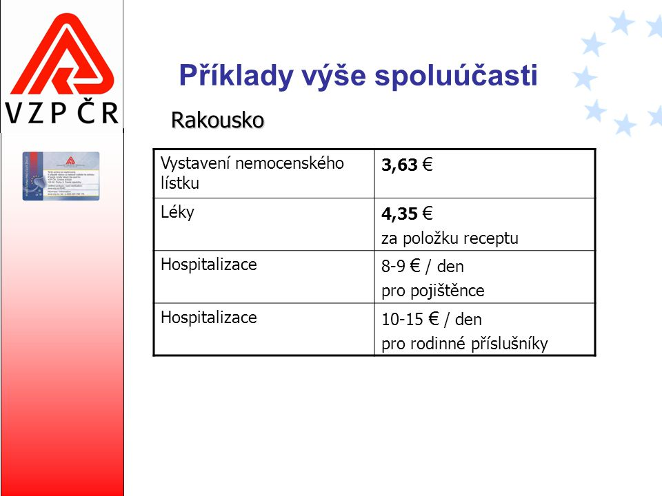 Příklady výše spoluúčasti Rakousko Vystavení nemocenského lístku 3,63 € Léky 4,35 € za položku receptu Hospitalizace 8-9 € / den pro pojištěnce Hospit