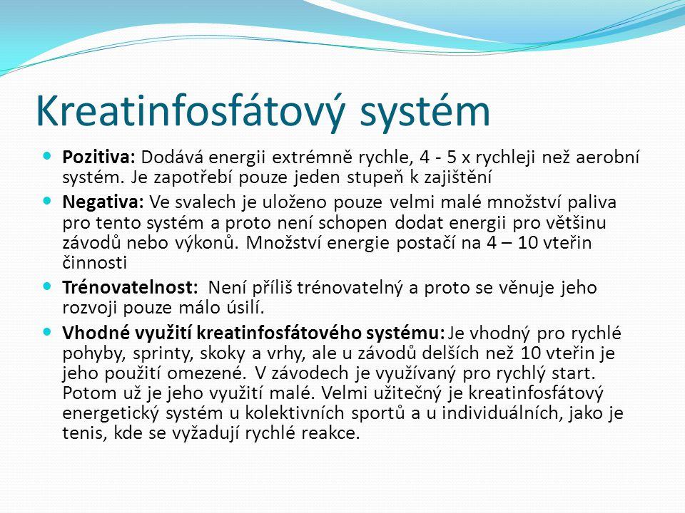 Kreatinfosfátový systém Pozitiva: Dodává energii extrémně rychle, 4 - 5 x rychleji než aerobní systém. Je zapotřebí pouze jeden stupeň k zajištění Neg
