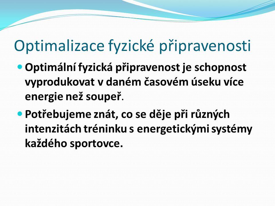 Optimalizace fyzické připravenosti Optimální fyzická připravenost je schopnost vyprodukovat v daném časovém úseku více energie než soupeř. Potřebujeme
