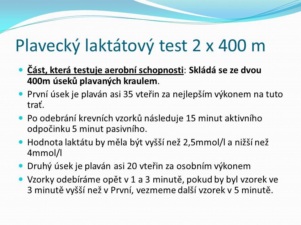Plavecký laktátový test 2 x 400 m Část, která testuje aerobní schopnosti: Skládá se ze dvou 400m úseků plavaných kraulem. První úsek je plaván asi 35