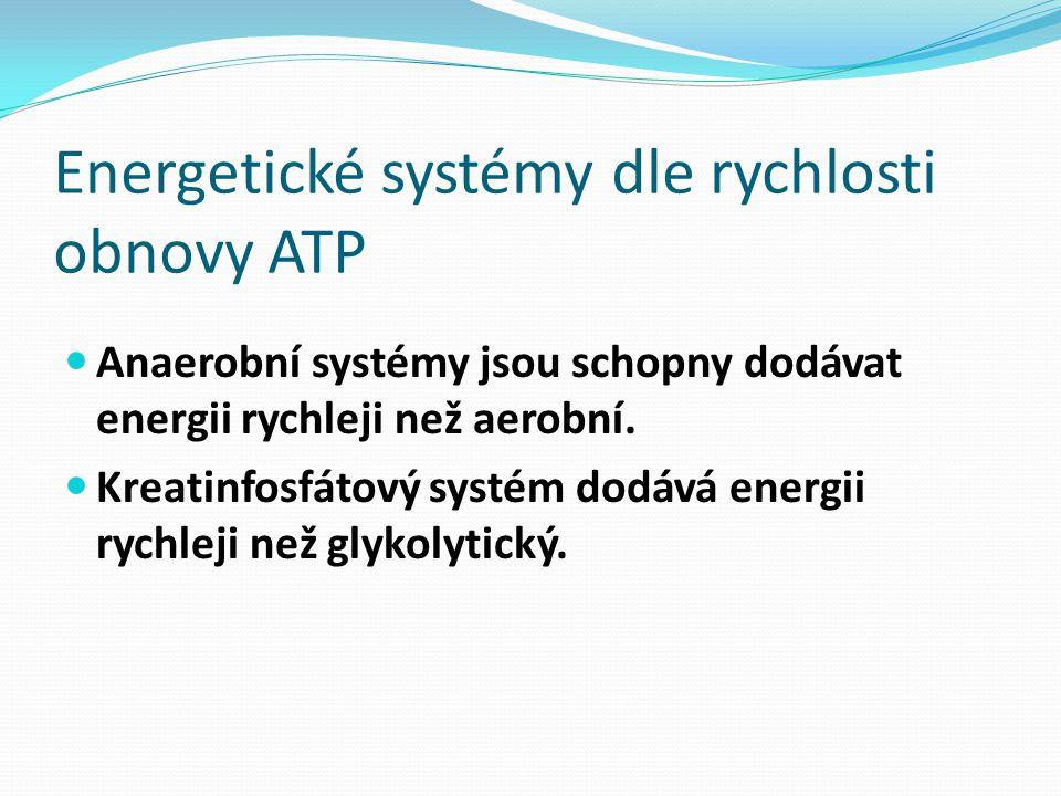 Energetické systémy dle rychlosti obnovy ATP Anaerobní systémy jsou schopny dodávat energii rychleji než aerobní. Kreatinfosfátový systém dodává energ