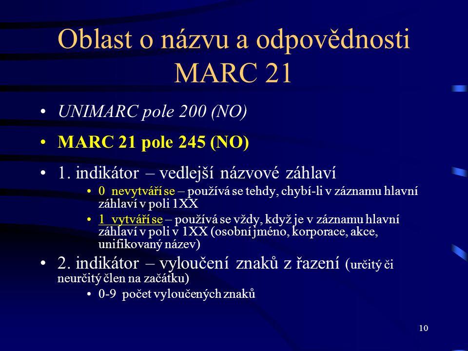 10 Oblast o názvu a odpovědnosti MARC 21 UNIMARC pole 200 (NO) MARC 21 pole 245 (NO) 1. indikátor – vedlejší názvové záhlaví 0 nevytváří se – používá