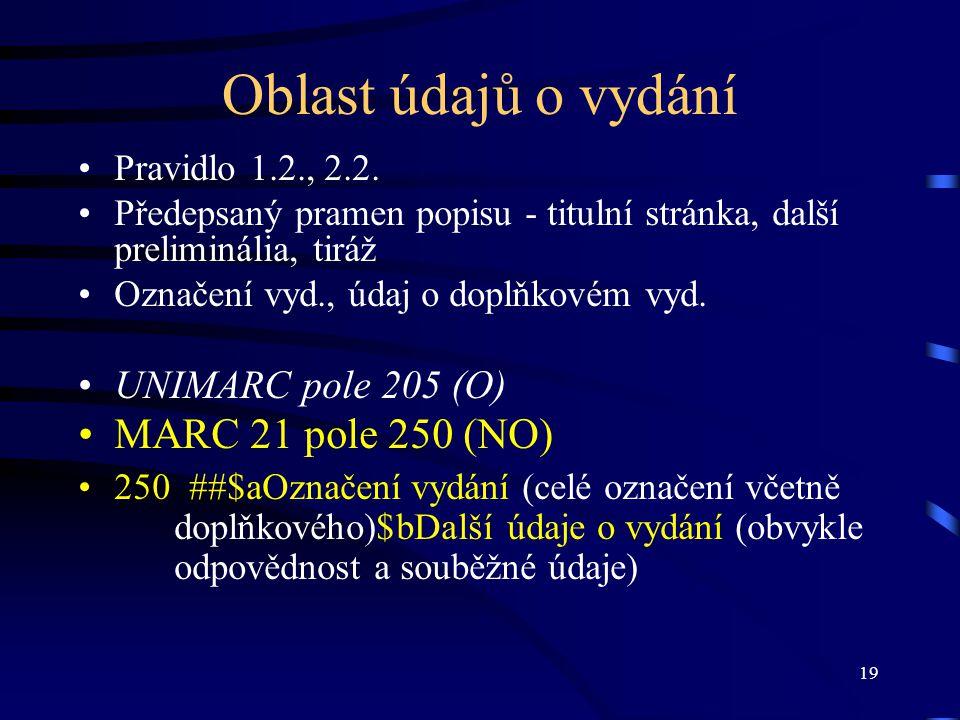 19 Oblast údajů o vydání Pravidlo 1.2., 2.2. Předepsaný pramen popisu - titulní stránka, další preliminália, tiráž Označení vyd., údaj o doplňkovém vy