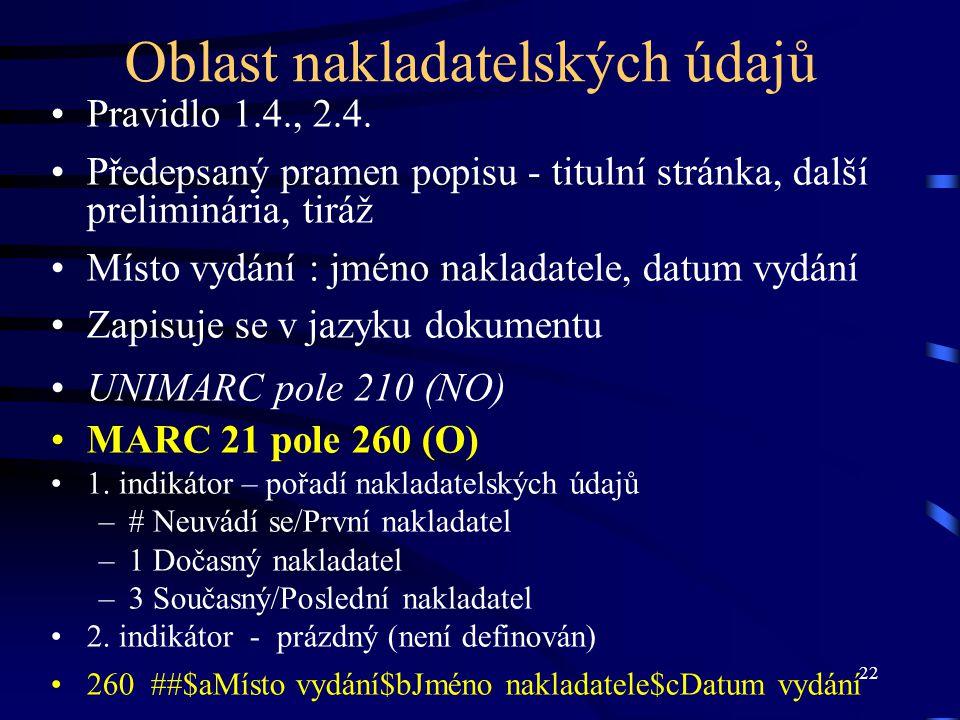 22 Oblast nakladatelských údajů Pravidlo 1.4., 2.4. Předepsaný pramen popisu - titulní stránka, další preliminária, tiráž Místo vydání : jméno naklada