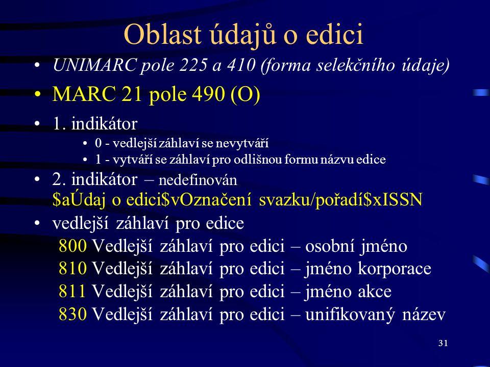 31 Oblast údajů o edici UNIMARC pole 225 a 410 (forma selekčního údaje) MARC 21 pole 490 (O) 1. indikátor 0 - vedlejší záhlaví se nevytváří 1 - vytvář