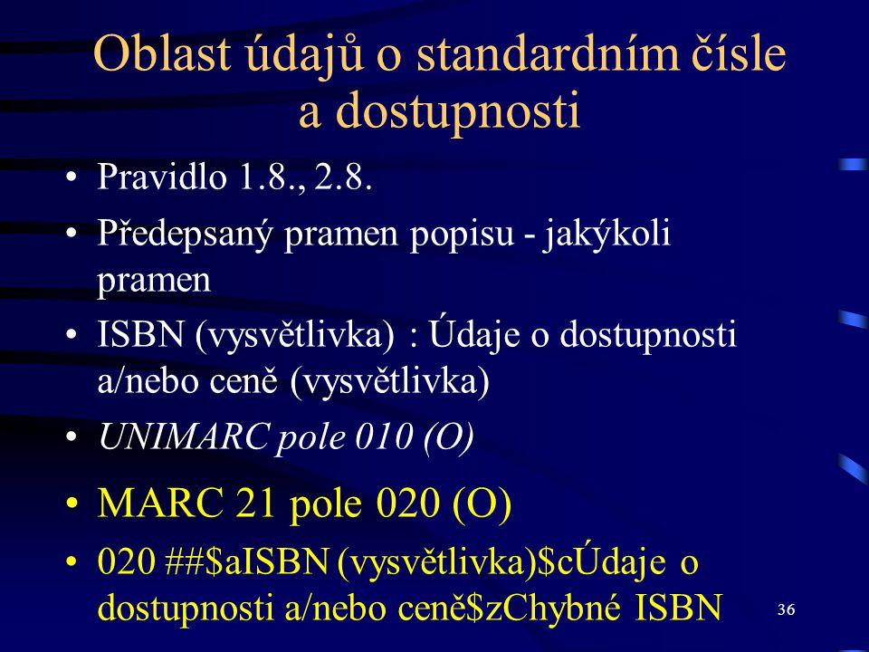 36 Oblast údajů o standardním čísle a dostupnosti Pravidlo 1.8., 2.8. Předepsaný pramen popisu - jakýkoli pramen ISBN (vysvětlivka) : Údaje o dostupno