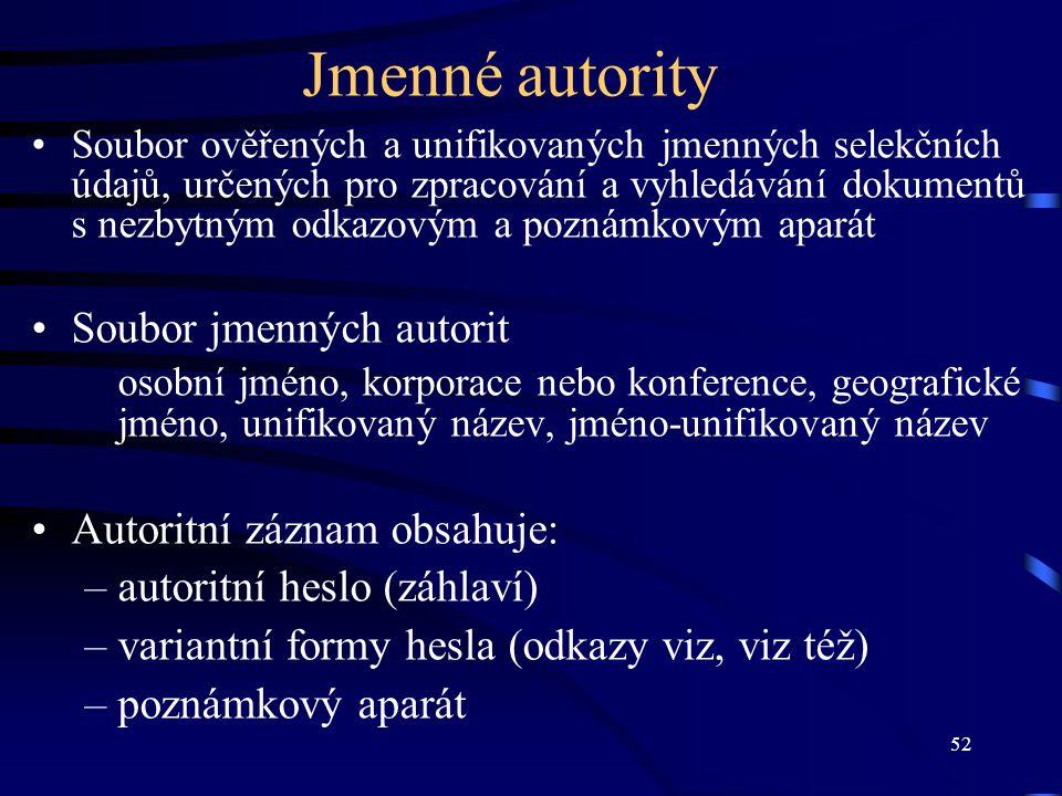 52 Jmenné autority Soubor ověřených a unifikovaných jmenných selekčních údajů, určených pro zpracování a vyhledávání dokumentů s nezbytným odkazovým a