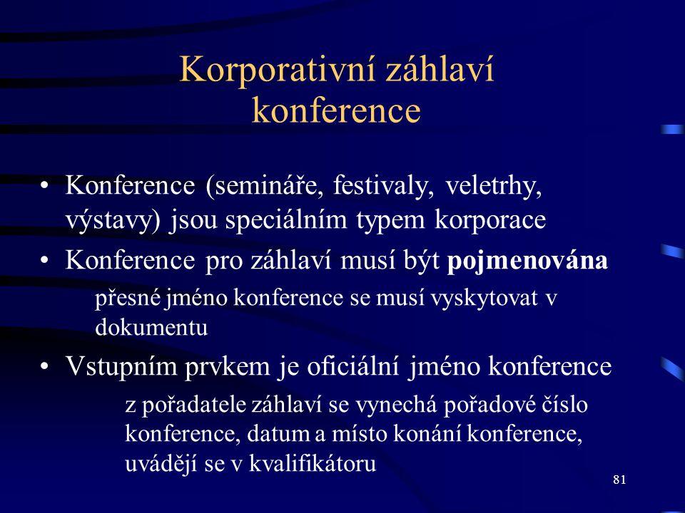 81 Korporativní záhlaví konference Konference (semináře, festivaly, veletrhy, výstavy) jsou speciálním typem korporace Konference pro záhlaví musí být
