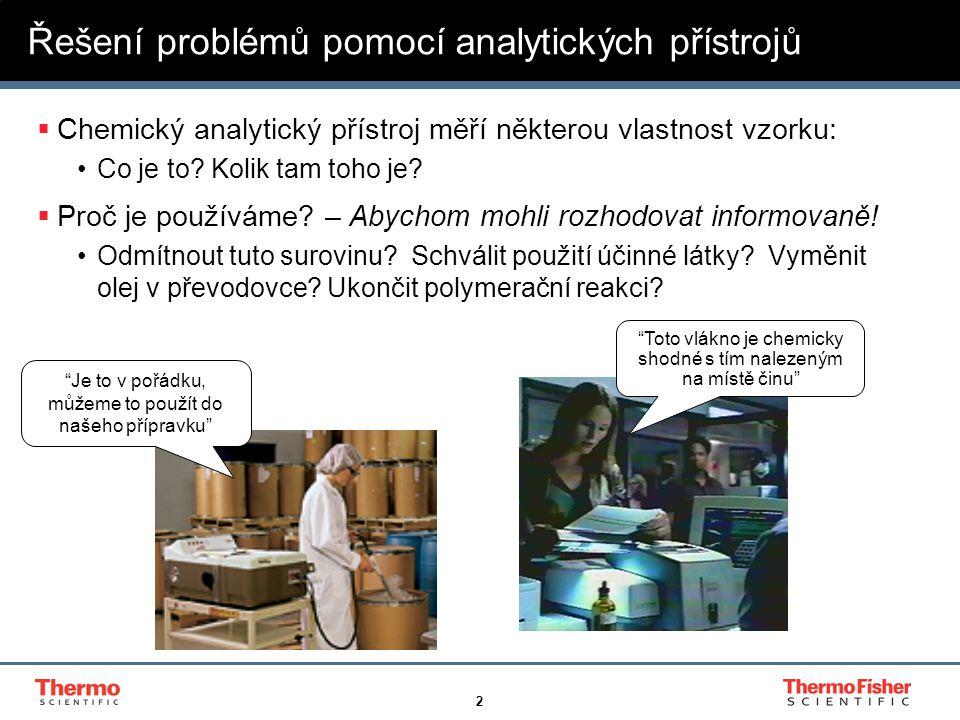 2 Řešení problémů pomocí analytických přístrojů  Chemický analytický přístroj měří některou vlastnost vzorku: Co je to.