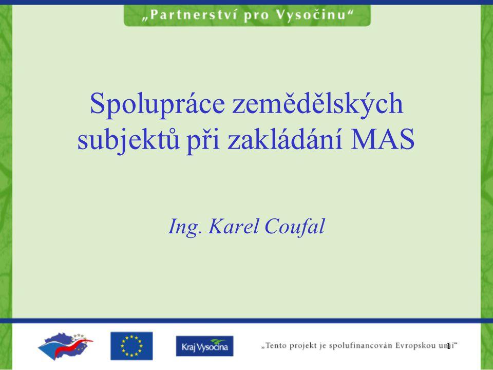12 Proč spolupráce v rámci MAS  V tomto odvětví pracuje okolo 12% obyvatel  Průměr v ČR je okolo 4,5%  Zemědělské subjekty obhospodařují značné území kraje  V převážné míře žijí v menších obcích  Udržují zvyky, tradice a kulturu Vysočiny