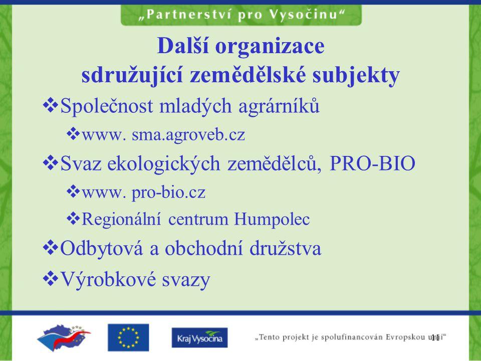 11 Další organizace sdružující zemědělské subjekty  Společnost mladých agrárníků  www. sma.agroveb.cz  Svaz ekologických zemědělců, PRO-BIO  www.