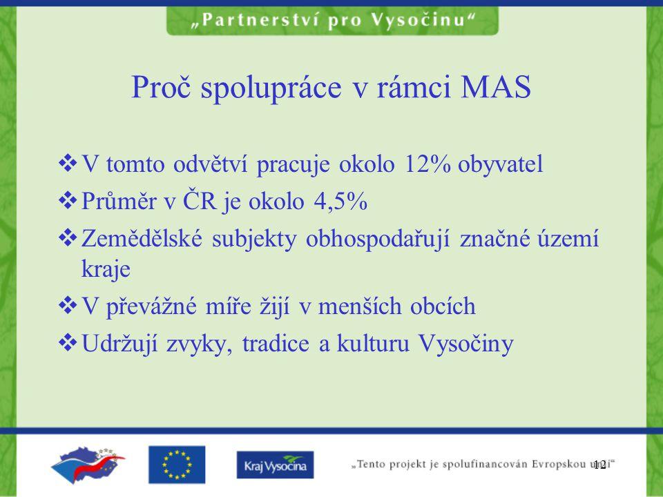 12 Proč spolupráce v rámci MAS  V tomto odvětví pracuje okolo 12% obyvatel  Průměr v ČR je okolo 4,5%  Zemědělské subjekty obhospodařují značné úze
