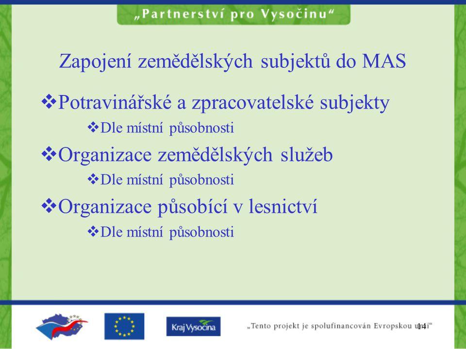 14 Zapojení zemědělských subjektů do MAS  Potravinářské a zpracovatelské subjekty  Dle místní působnosti  Organizace zemědělských služeb  Dle míst