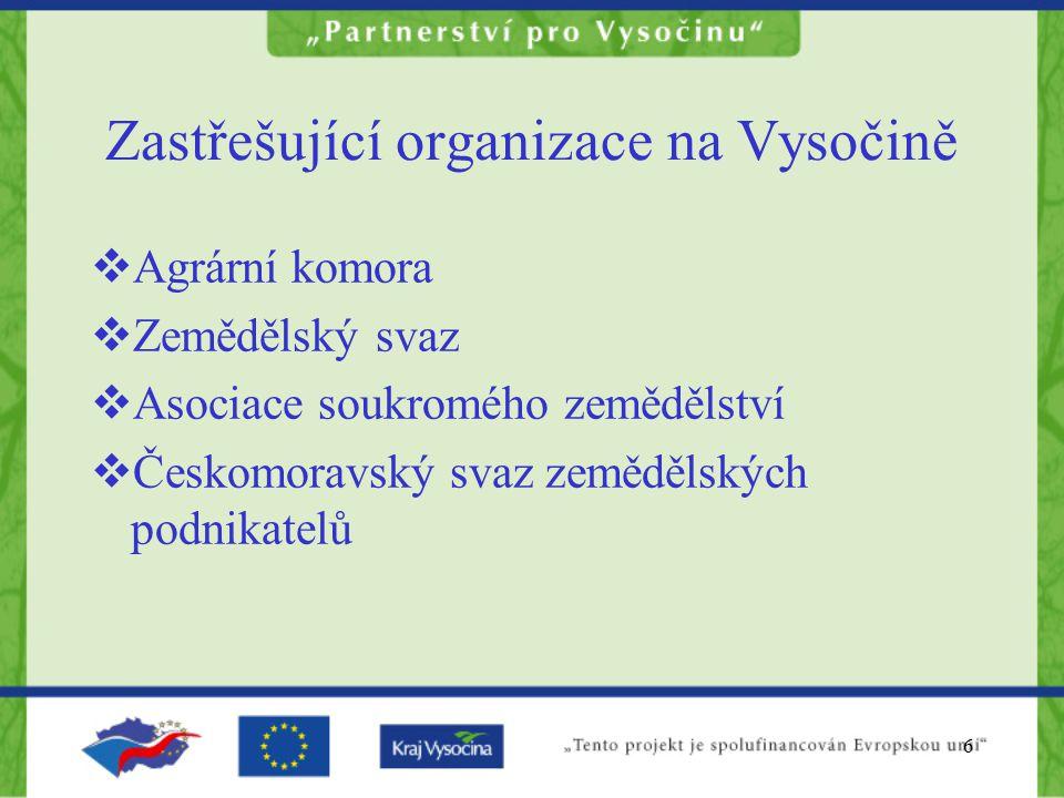 7 Zastřešující organizace na Vysočině  Krajská agrární komora Kraje Vysočina  Zákon 301/1992 Sb.