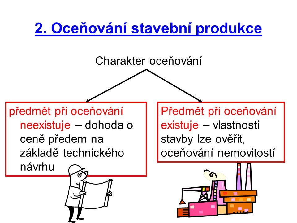 Charakter oceňování 2. Oceňování stavební produkce předmět při oceňování neexistuje – dohoda o ceně předem na základě technického návrhu Předmět při o