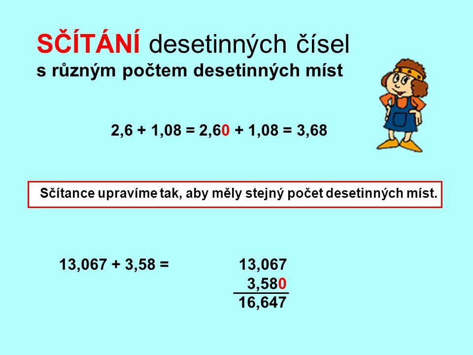 13,067 + 3,58 = 13,067 3,580 16,647 SČÍTÁNÍ desetinných čísel s různým počtem desetinných míst 2,6 + 1,08 = 2,60 + 1,08 = 3,68 Sčítance upravíme tak,