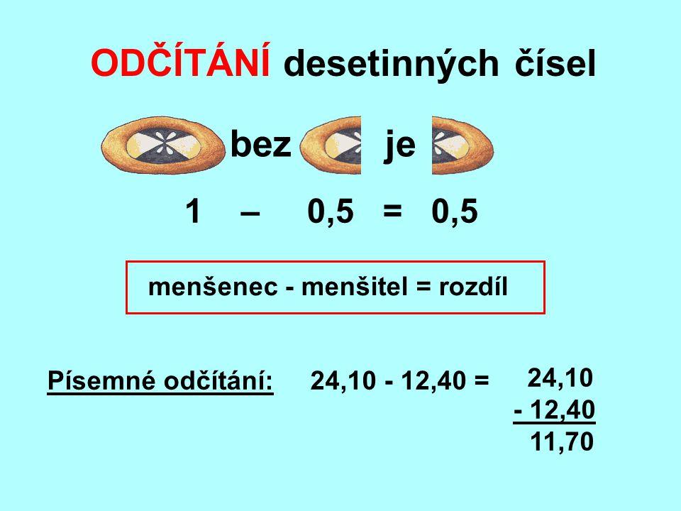 ODČÍTÁNÍ desetinných čísel bezje menšenec - menšitel = rozdíl Písemné odčítání: 24,10 - 12,40 = 24,10 - 12,40 11,70 1 – 0,5 = 0,5