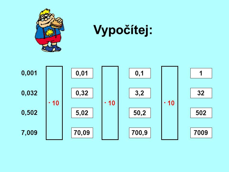 Vypočítej: 0,001 0,032 7,009 0,502 · 10 0,01 0,32 5,02 70,09 · 10 0,1 3,2 50,2 700,9 1 32 502 7009 · 10