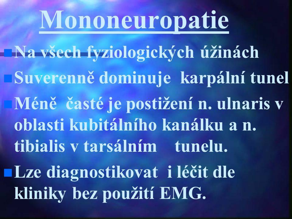 Mononeuropatie Na všech fyziologických úžinách Suverenně dominuje karpální tunel Méně časté je postižení n. ulnaris v oblasti kubitálního kanálku a n.