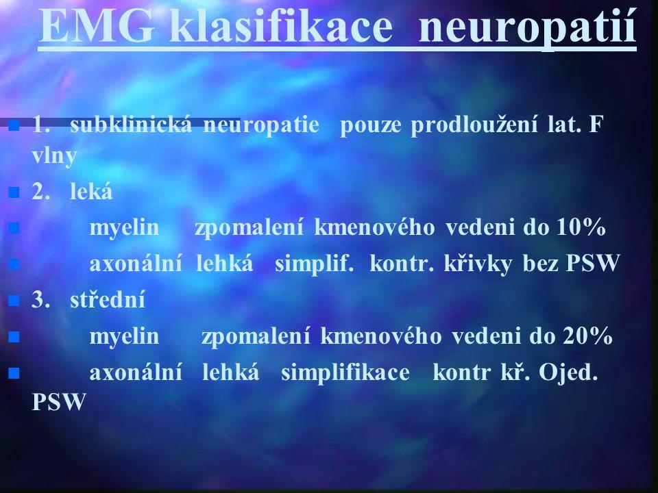 EMG klasifikace neuropatií 1. subklinická neuropatie pouze prodloužení lat. F vlny 2. leká myelin zpomalení kmenového vedeni do 10% axonální lehká sim