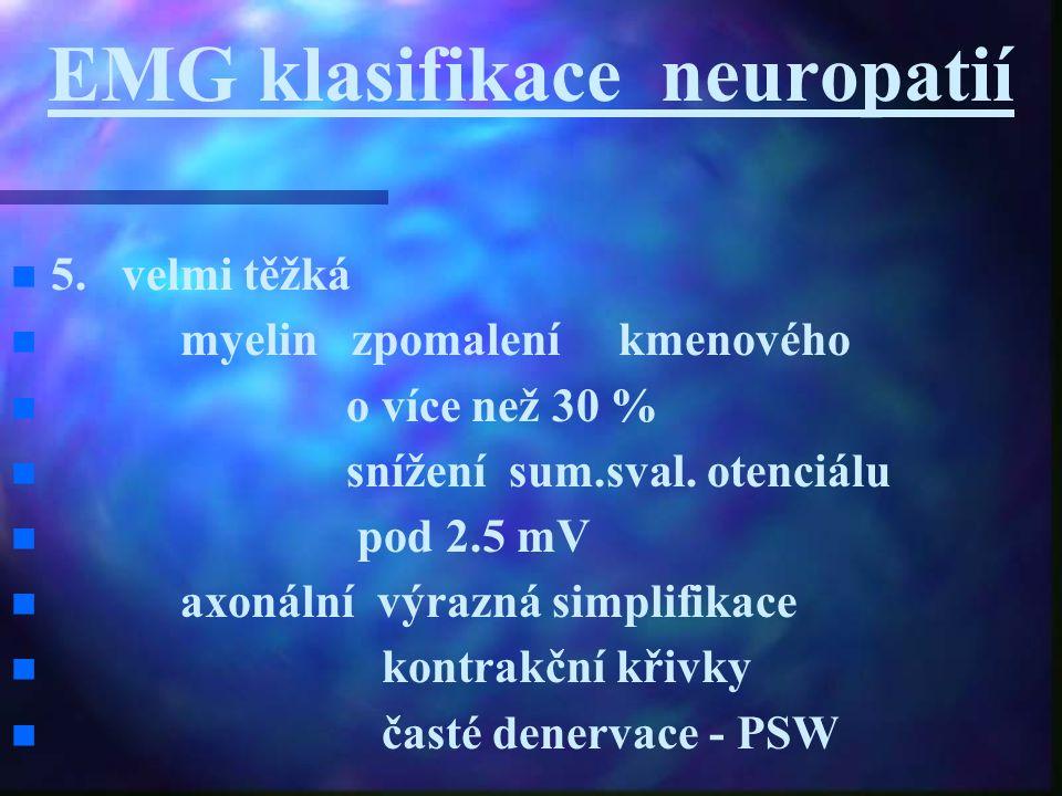EMG klasifikace neuropatií 5. velmi těžká myelin zpomalení kmenového o více než 30 % snížení sum.sval. otenciálu pod 2.5 mV axonální výrazná simplifik