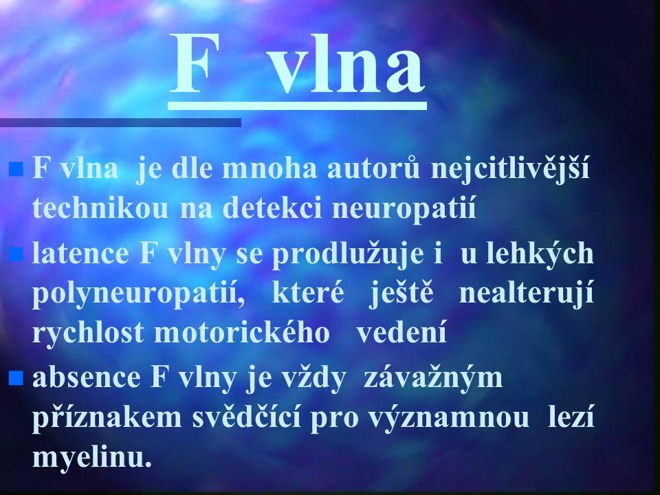F vlna n n F vlna je dle mnoha autorů nejcitlivější technikou na detekci neuropatií n n latence F vlny se prodlužuje i u lehkých polyneuropatií, které