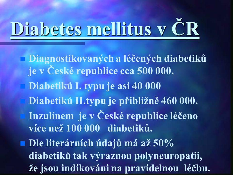 Diabetes mellitus v ČR n n Diagnostikovaných a léčených diabetiků je v České republice cca 500 000. n n Diabetiků I. typu je asi 40 000 n n Diabetiků