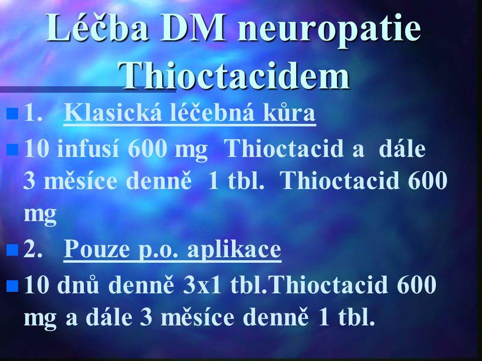 Léčba DM neuropatie Thioctacidem 1. Klasická léčebná kůra 10 infusí 600 mg Thioctacid a dále 3 měsíce denně 1 tbl. Thioctacid 600 mg 2. Pouze p.o. apl