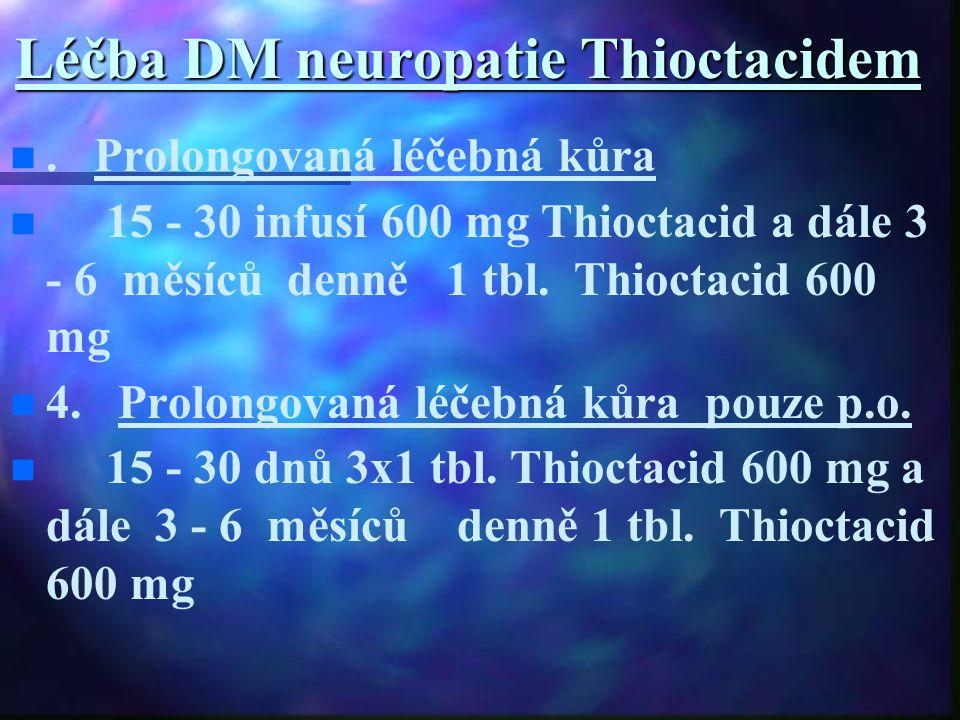 Léčba DM neuropatie Thioctacidem. Prolongovaná léčebná kůra 15 - 30 infusí 600 mg Thioctacid a dále 3 - 6 měsíců denně 1 tbl. Thioctacid 600 mg 4. Pro