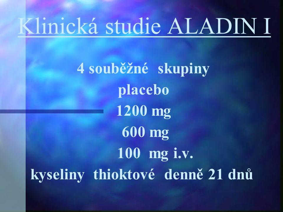 Klinická studie ALADIN I 4 souběžné skupiny placebo 1200 mg 600 mg 100 mg i.v. kyseliny thioktové denně 21 dnů