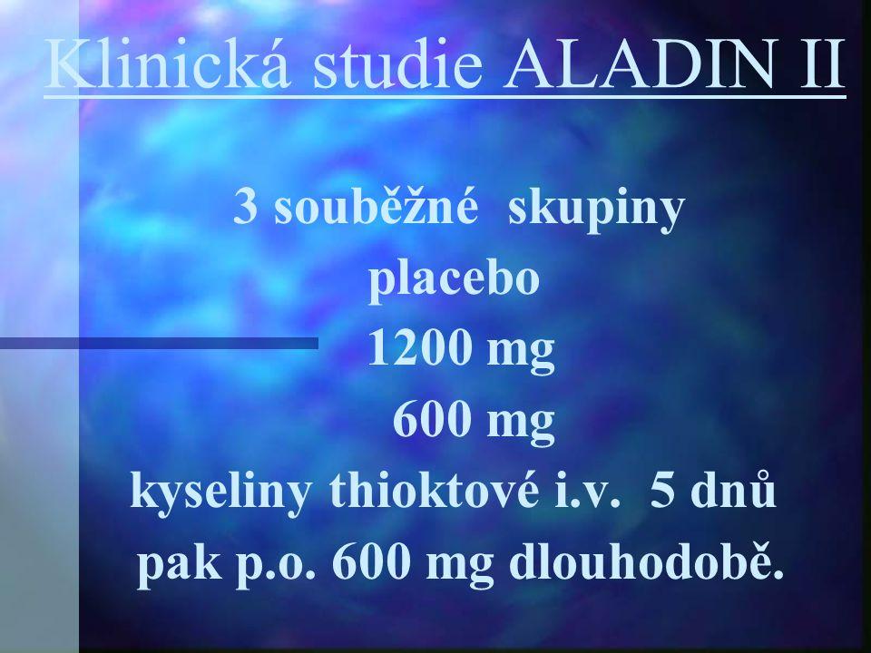 Klinická studie ALADIN II 3 souběžné skupiny placebo 1200 mg 600 mg kyseliny thioktové i.v. 5 dnů pak p.o. 600 mg dlouhodobě.