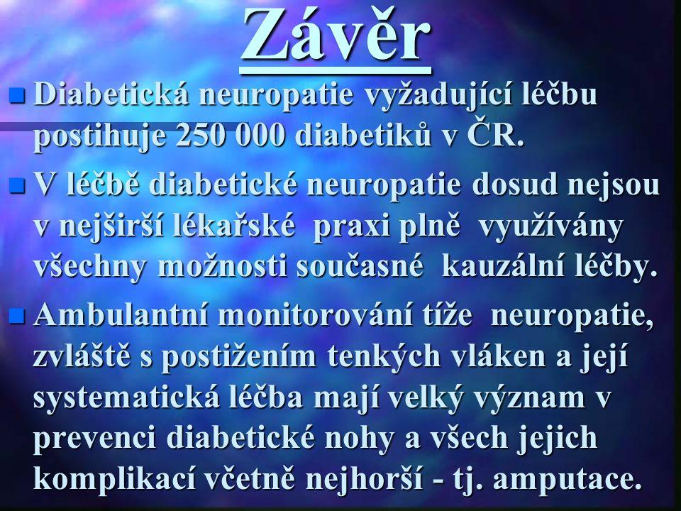 Závěr Diabetická neuropatie vyžadující léčbu postihuje 250 000 diabetiků v ČR. Diabetická neuropatie vyžadující léčbu postihuje 250 000 diabetiků v ČR