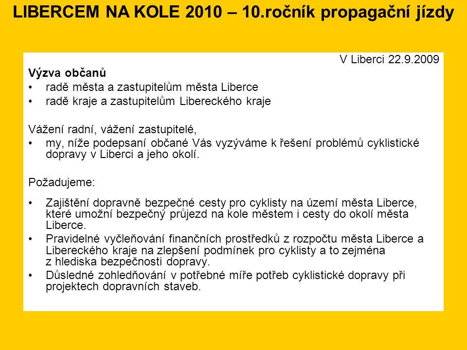 V Liberci 22.9.2009 Výzva občanů radě města a zastupitelům města Liberce radě kraje a zastupitelům Libereckého kraje Vážení radní, vážení zastupitelé, my, níže podepsaní občané Vás vyzýváme k řešení problémů cyklistické dopravy v Liberci a jeho okolí.