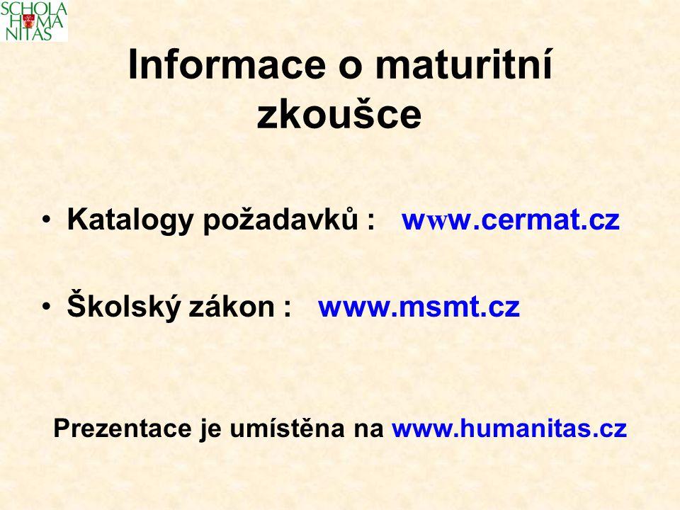 Katalogy požadavků : w w w.cermat.cz Školský zákon : www.msmt.cz Informace o maturitní zkoušce Prezentace je umístěna na www.humanitas.cz