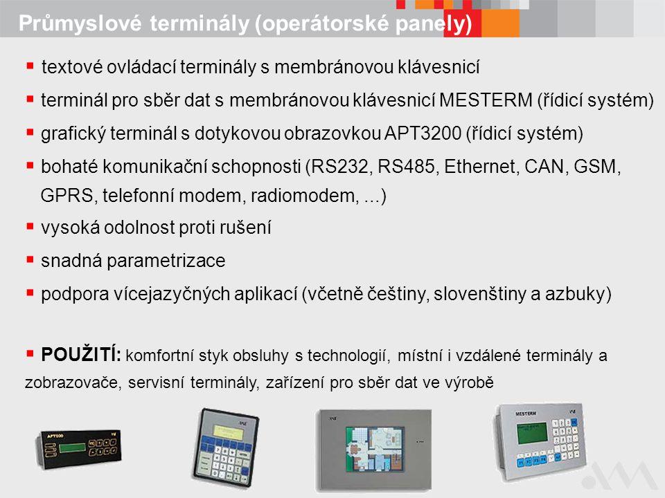 Průmyslové terminály (operátorské panely)  textové ovládací terminály s membránovou klávesnicí  terminál pro sběr dat s membránovou klávesnicí MESTE