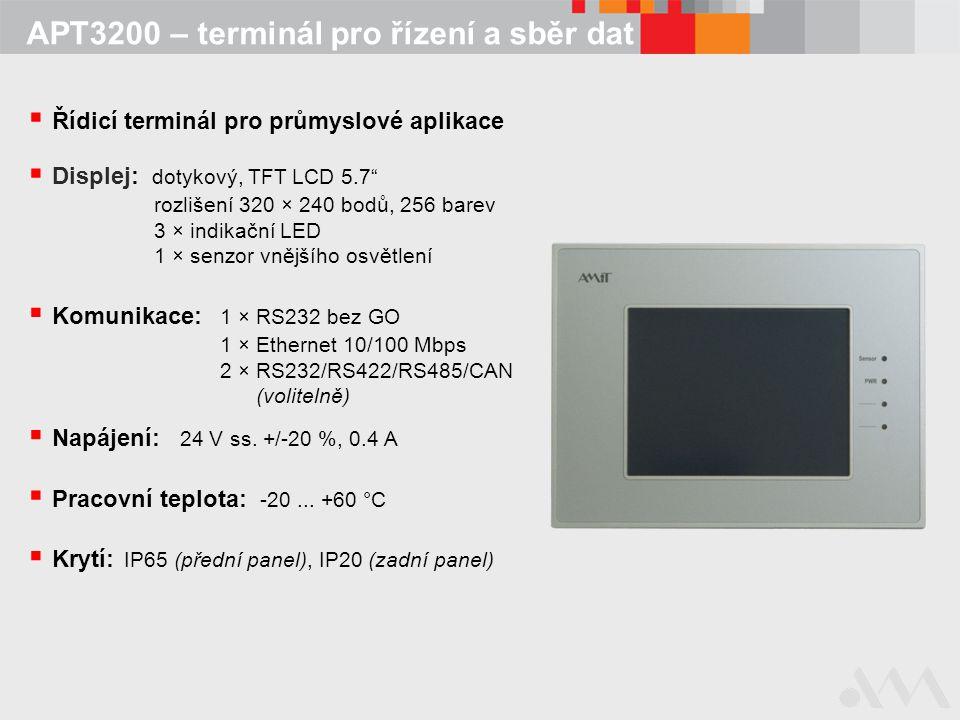 APT3200 – terminál pro řízení a sběr dat  Řídicí terminál pro průmyslové aplikace  Krytí: IP65 (přední panel), IP20 (zadní panel)  Displej: dotykov