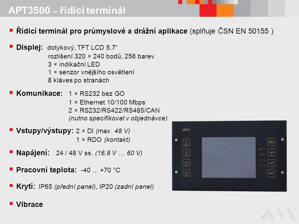 """APT3500 – řídicí terminál  Krytí: IP65 (přední panel), IP20 (zadní panel)  Displej: dotykový, TFT LCD 5.7"""" rozlišení 320 × 240 bodů, 256 barev 3 × i"""