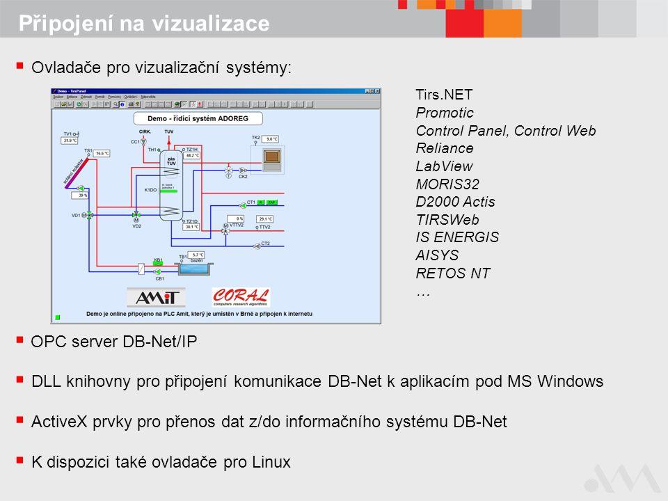 Připojení na vizualizace  Ovladače pro vizualizační systémy: Tirs.NET Promotic Control Panel, Control Web Reliance LabView MORIS32 D2000 Actis TIRSWe
