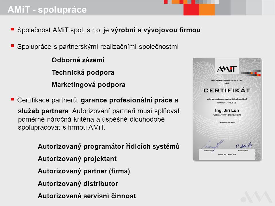 AMiT - spolupráce  Společnost AMiT spol. s r.o. je výrobní a vývojovou firmou  Spolupráce s partnerskými realizačními společnostmi Odborné zázemí Te