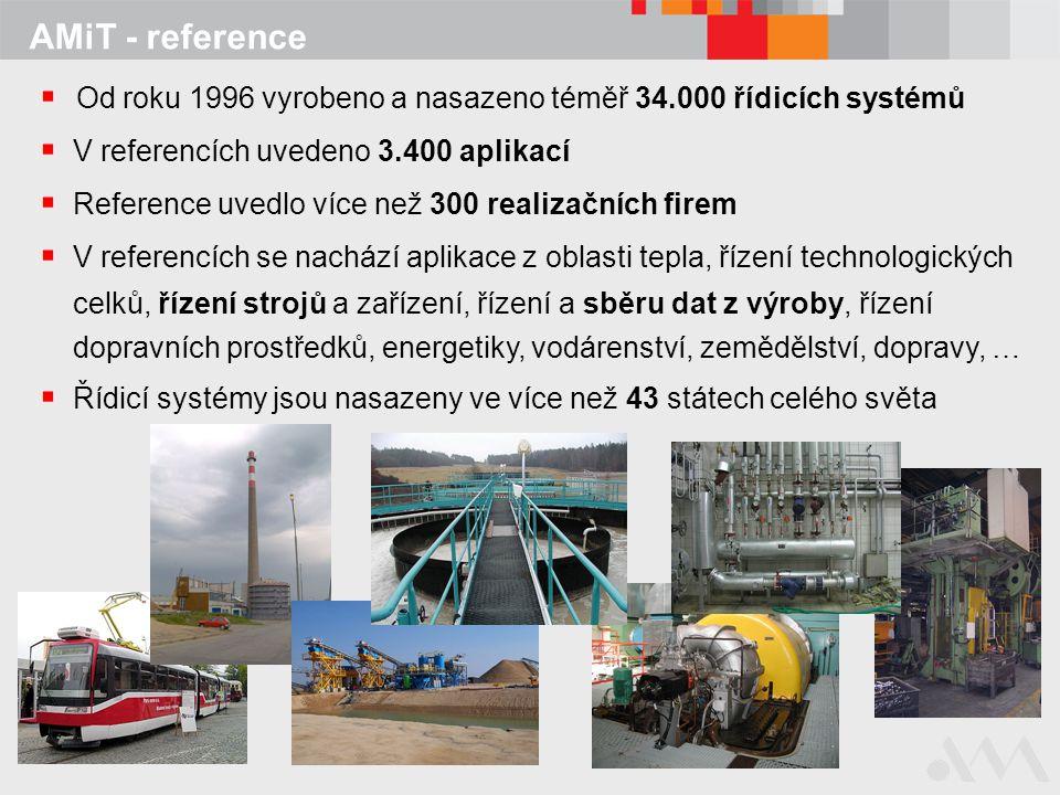 AMiT - reference  Od roku 1996 vyrobeno a nasazeno téměř 34.000 řídicích systémů  V referencích uvedeno 3.400 aplikací  Reference uvedlo více než 3