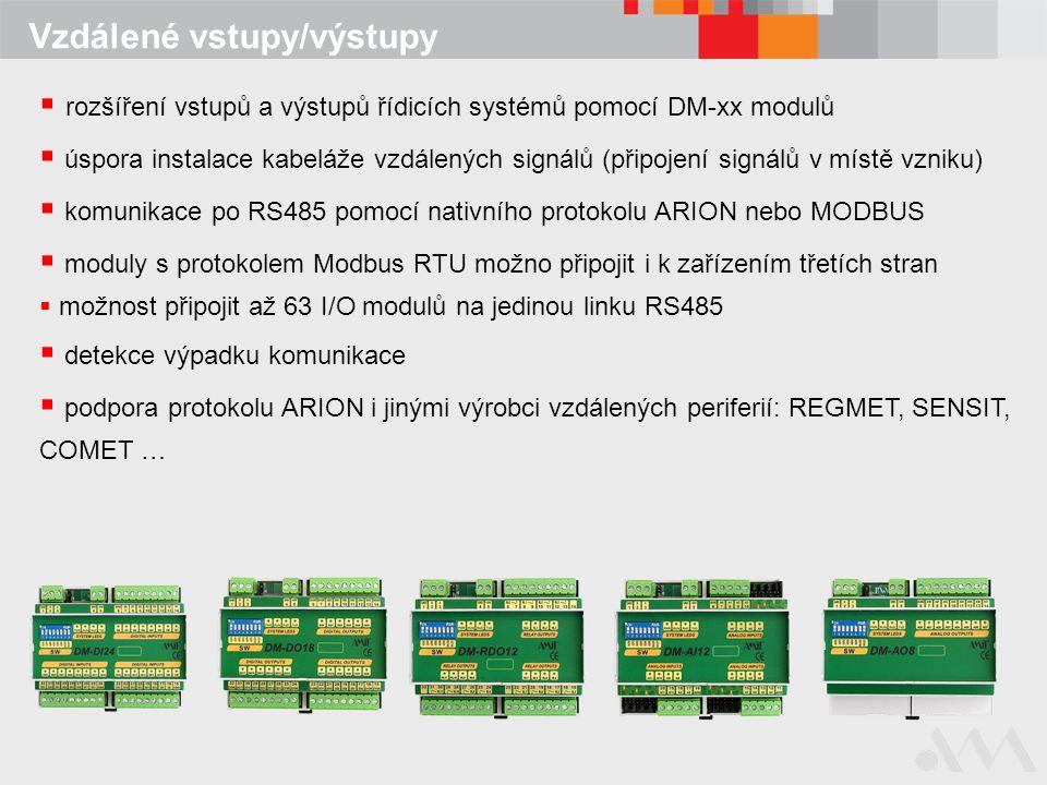 Vzdálené vstupy/výstupy  rozšíření vstupů a výstupů řídicích systémů pomocí DM-xx modulů  úspora instalace kabeláže vzdálených signálů (připojení si